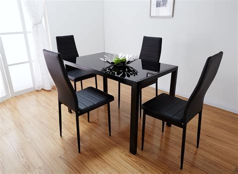 Designer Rectangle Black Glass Dining Table 4 Chairs Set Black Dining Table Set