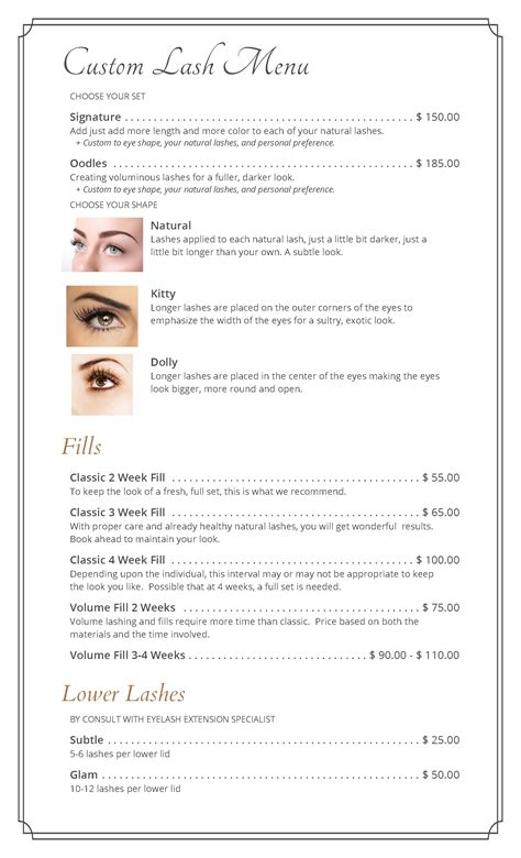 Menu Cindy S Sassy Lashes Eyelash Extension Consultation Form Template