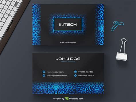 Blue Tech Pixel Business Card Freebcard Tech Business Card Template