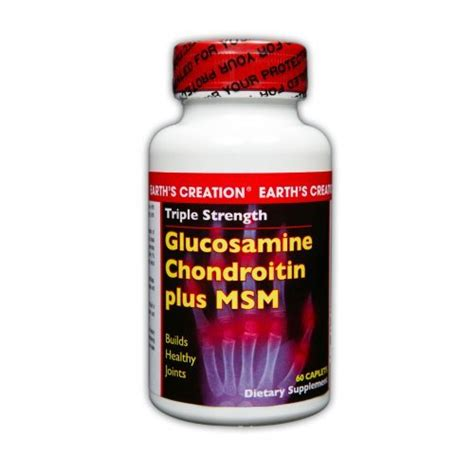 Glucosamine Chondroitin Msm 60 Caplets earth s creation glucosamine chondroitin plus msm 60 caplets by