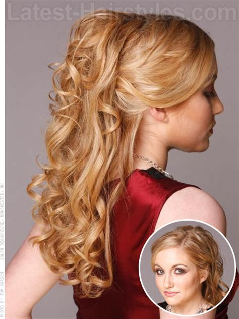 prom hairstyles half up half down curly medium hair half up half down prom hairstyles pictures and how to s