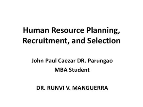 Mba Hr Project Synopsis On Recruitment And Selection by Human Resource Planning Recruitment And Selection