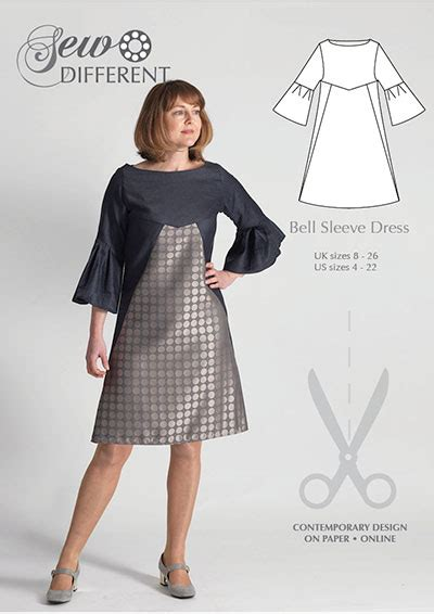 clothes pattern website bell sleeve dress multi size sewing pattern sew different