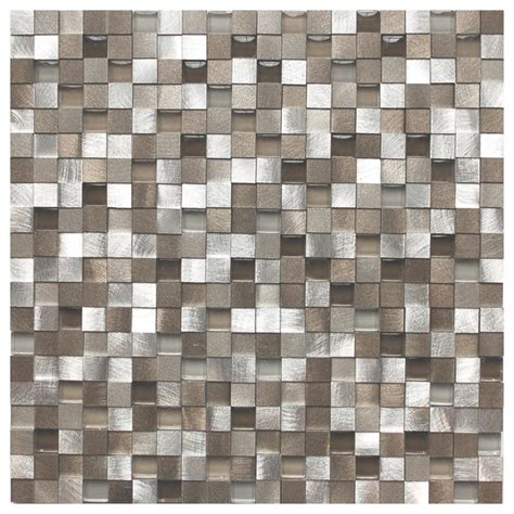 eden mosaic tile 3d silver and pewter aluminum square
