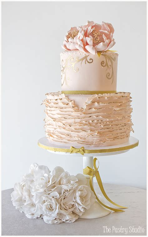 Decoration For Engagement Party At Home by Lovely Ballet Pink Amp Gold Tipped Ruffled Floral Cake