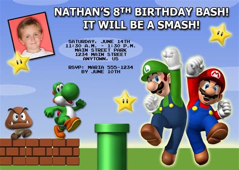 mario birthday card template birthday invites free top 10 mario birthday