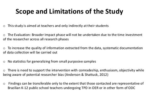 scope and limitations of the study in research paper oer learning design guidelines for k 12 teachers