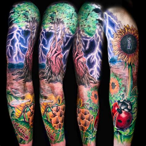 nature sleeve tattoo beautiful nature sleeve tattoos