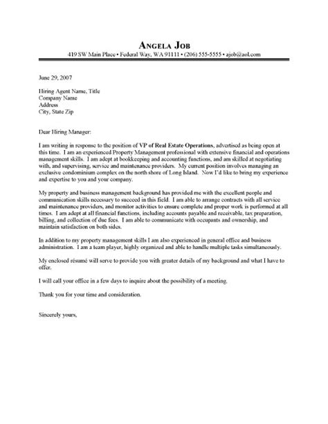 cover letter for a management position property manager cover letter sle resume cover letter