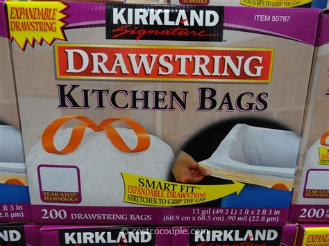 Kirkland Signature Drawstring Kitchen Trash Bags 13 Gallon by Kirkland Signature 13 Gal Drawstring Kitchen Bags