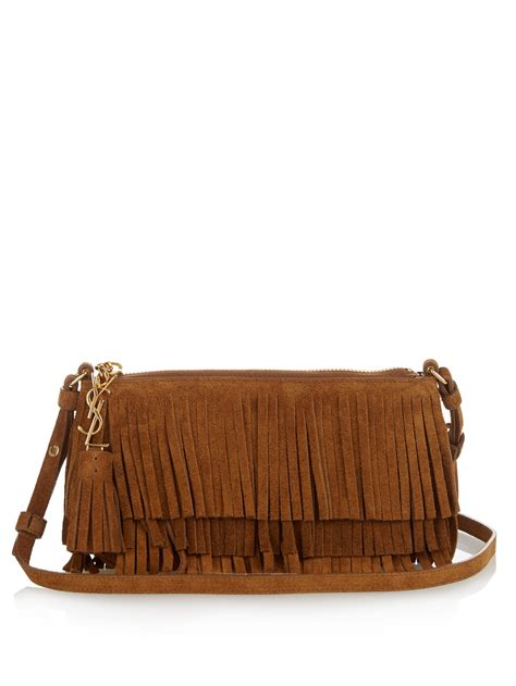 lyst saint laurent monogram fringed suede cross body bag