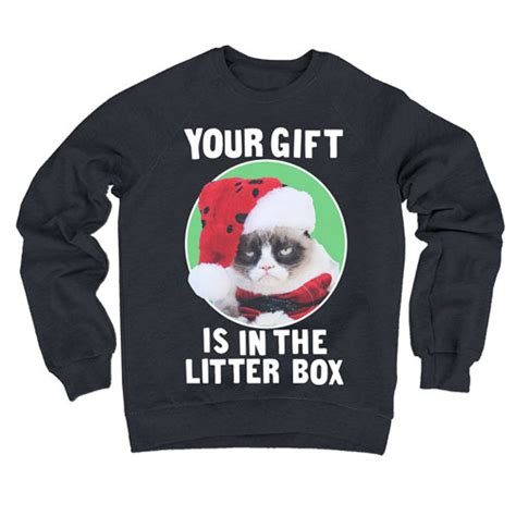Grumpy Cat Your Gift Is In The Litter Box Fleece Sweater   geekread.com