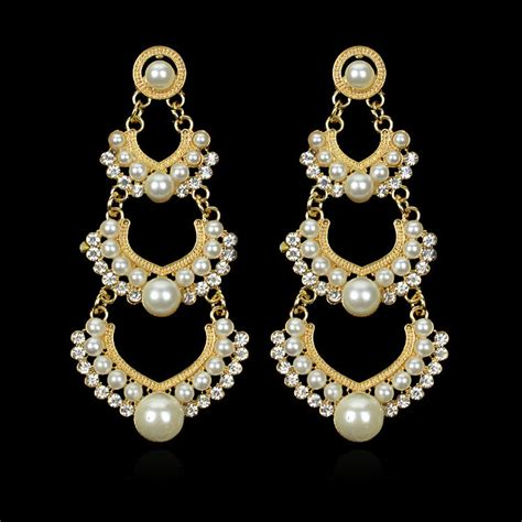 2016 three layers big pearl earrings for fashion