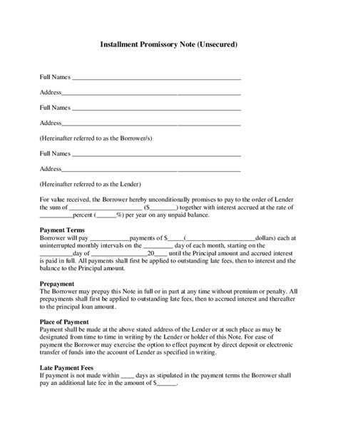 installment promissory note template free installment promissory note unsecured hashdoc
