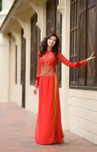 Pretty in red ao dai modernized traditional vietnamese dress