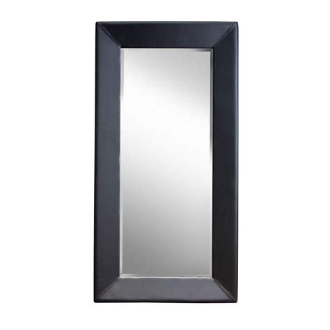 diamond sofa zen accent floor mirror wrapped in black pvc beyond stores