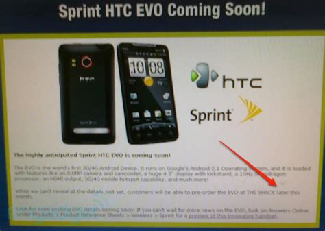 leaked pic shows sprint htc evo to begin pre orders this month