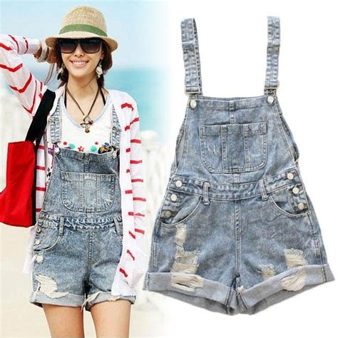 Ripped Denim Overall Shorts womens ripped denim jumpsuit shorts casual overall romper ebay