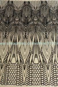 51 black sequins on beige netting embroidered lace fabric show stage