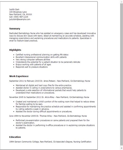 Medical Doctor Resume Example by Professional Dermatology Nurse Templates To Showcase Your