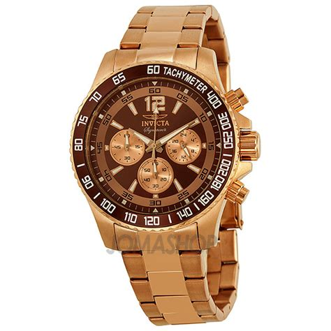 invicta signature ii chronograph brown gold tone