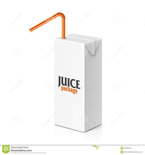 juice or milk box with drinking straw stock vector image