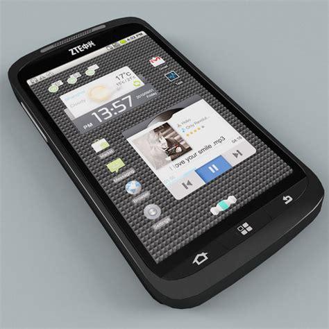 zte mobile phones models zte skate phone 3d model