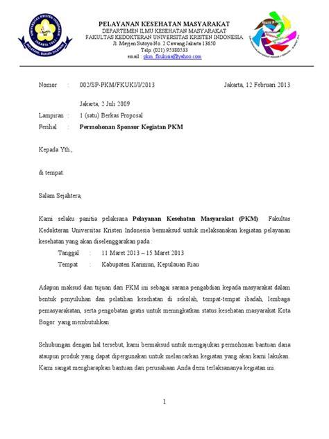 Surat Pengantar Sponsor by Surat Permohonan Sponsor