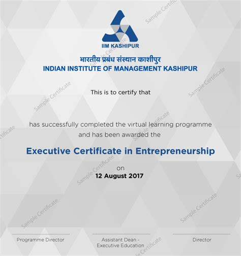 Executive Mba From Iim Eligibility Criteria by Certified Program In Entrepreneurship Course From Iim Kashipur