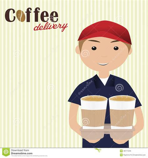 Boy Holding Cups Of Coffee For Delivery Stock Vector   Image: 48777246