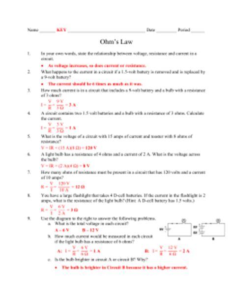 Ohm S Worksheet Key