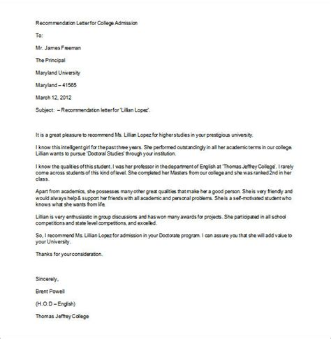 Letter Of Recommendation Template For College Admission 8 college recommendation letter free sle exle