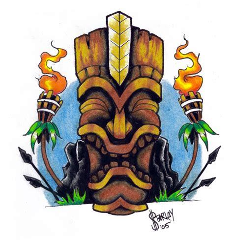tiki head tattoo hawaiian tiki gods drawing thunderbird
