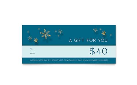 gift certificate template indesign golden snowflakes gift certificate template word publisher