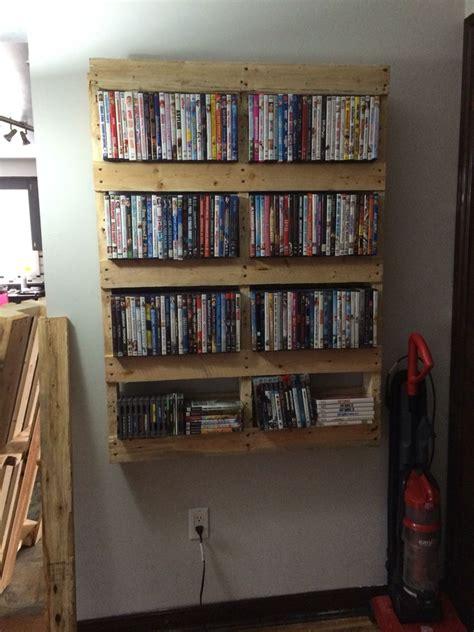 pallet  shelf diy dvd diy dvd storage  shelf