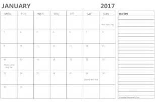 printable january 2017 calendar template word pdf
