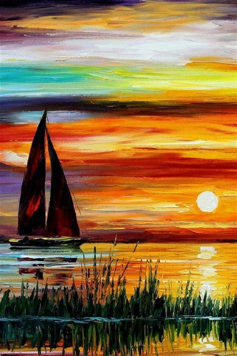 exquisite peinture coucher de soleil bateau mer iphone