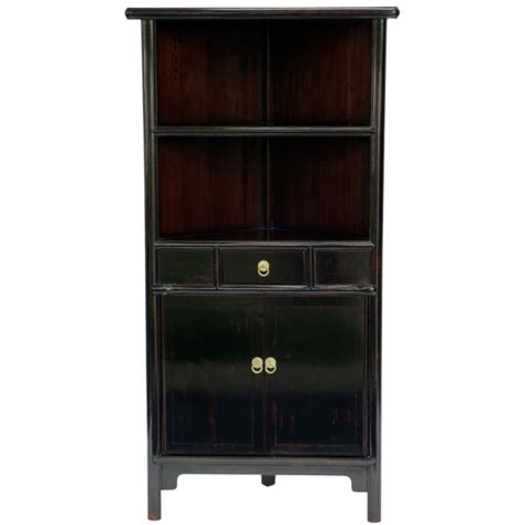 Black Corner Armoire by Black Lacquered Corner Cabinet C 1865 Hs 5 At 1stdibs
