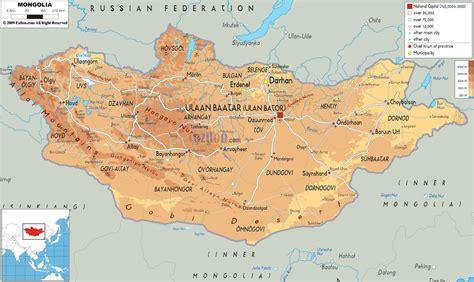 mongolia map physical map of mongolia ezilon maps