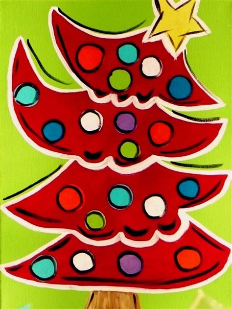 funky christmas tree painting holidays pinterest