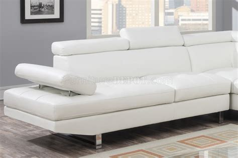 4013 sectional sofa in white bonded leather
