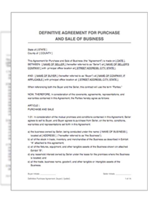 Definitive Purchase Agreement Restart Pro Definitive Agreement Template