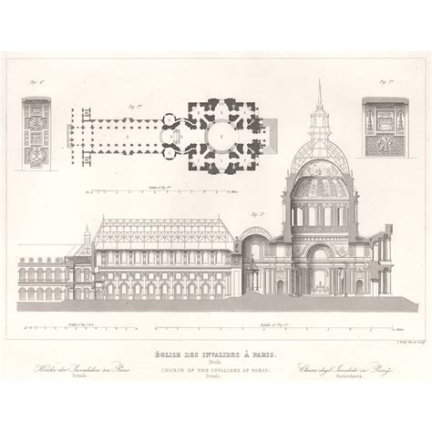 church section paris des invalides church section and plan britton images