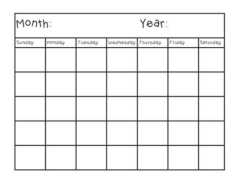 student homework calendar template