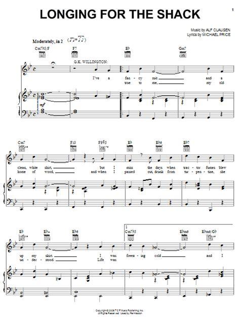 printable lyrics to love shack longing for the shack sheet music direct