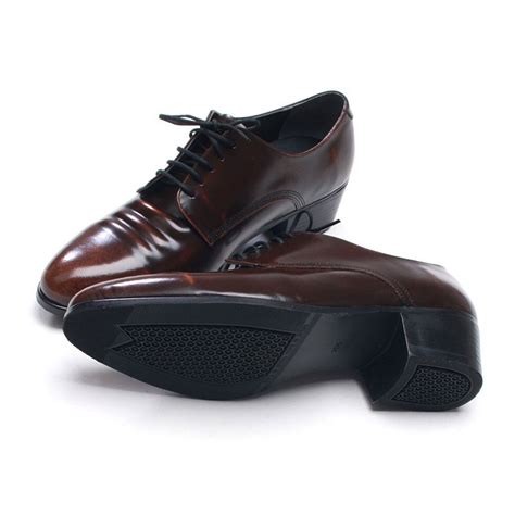 mens shoes high heels mens toe wrinkles brown cow leather rubber sole lace