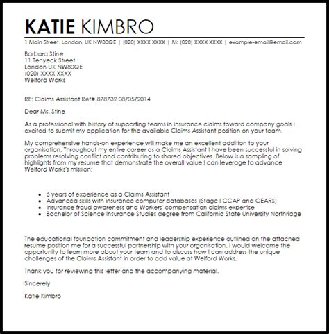 resume cover letter for insurance claims adjuster
