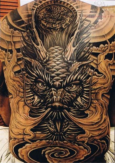 tattoo dragon ink grey ink japanese dragon back tattoo