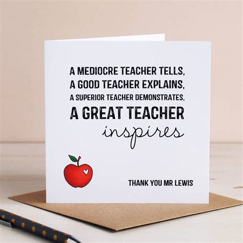 cards to make for teachers personalised inspiring card by cloud 9 design