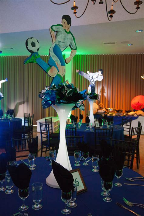 soccer centerpiece sports theme bar mitzvah design
